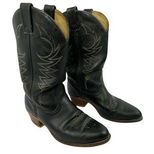Old West Black Leather Cowboy Boots Size 8.5 Canad